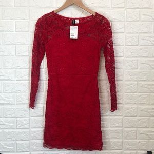 Divided red lace dress